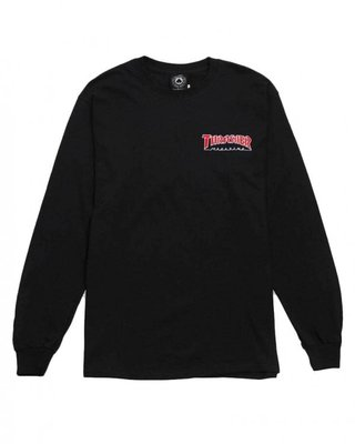 Thrasher Outlined Long Sleeve T-Shirt Black