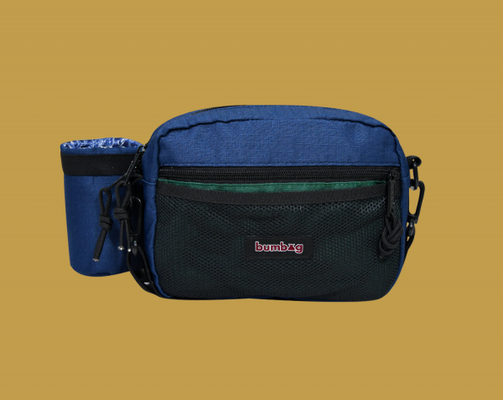 BUMBAG LouieLopez Compact XL Shoulder Bag w/Bottle Holder-ForestGreen & Navy
