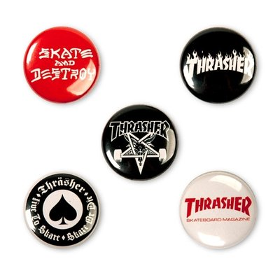 Thrasher Logo Buttons (5 Pack)
