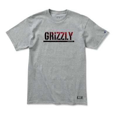 Grizzly Stamp Fadeaway Champion T-Shirt Heather Grey