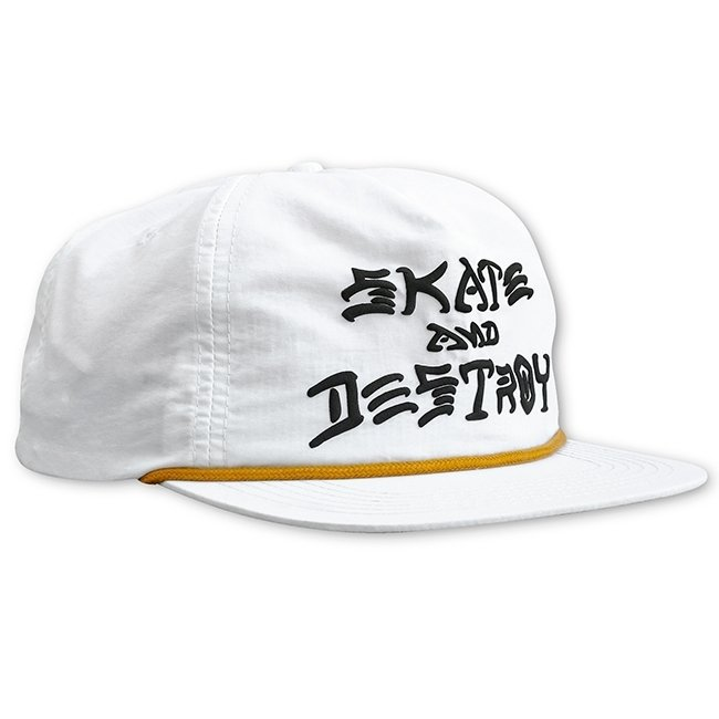 Skate And Destroy Puff Ink Snapback (White)